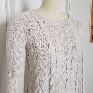 Loft Ivory Cable Sweater